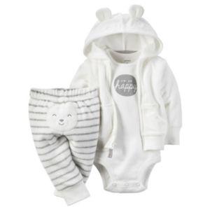 Baby Carter's Bear Terry Cardigan & Pants Set
