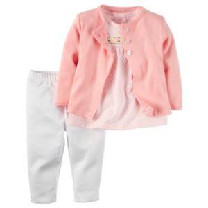 Baby Girl Carter's Geometric Tee, Cardigan & Pants Set