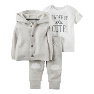 Baby Carter's Cloud Cardigan, Tee & Pants Set