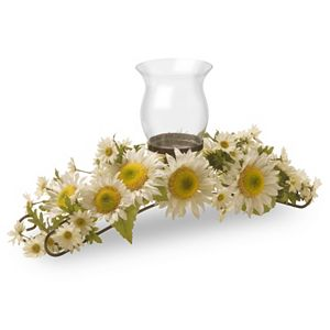 National Tree Company Artificial White Sunflower Candle Holder