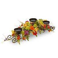 National Tree Company Artificial Cosmos Mixed Floral 3-Tier Candle Holder