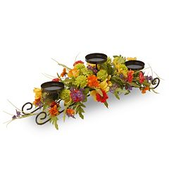 National Tree Company Artificial Cosmos Mixed Floral 3 tier Candle Holder