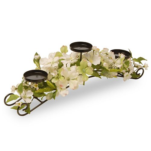 National Tree Company Artificial Dogwood Floral 3-Tier Candle Holder