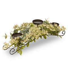 National Tree Company Artificial Dill Blossom Floral 3-Tier Candle Holder