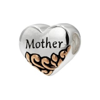 """Individuality Beads Two Tone Sterling Silver """"Mother"""" Heart Bead"""