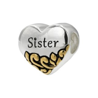 "Individuality Beads Two Tone Sterling Silver ""Sister"" Heart Bead"