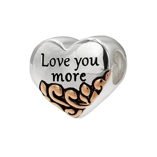 """Individuality Beads Two Tone Sterling Silver """"Love You More"""" Heart Bead"""