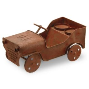 """National Tree Company 14"""" Metal Car Lawn Ornament & Candle Holder"""
