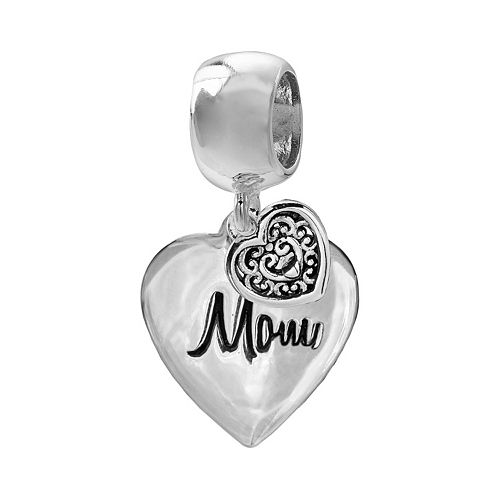 "Individuality Beads Sterling Silver ""Mom"" Heart Charm"
