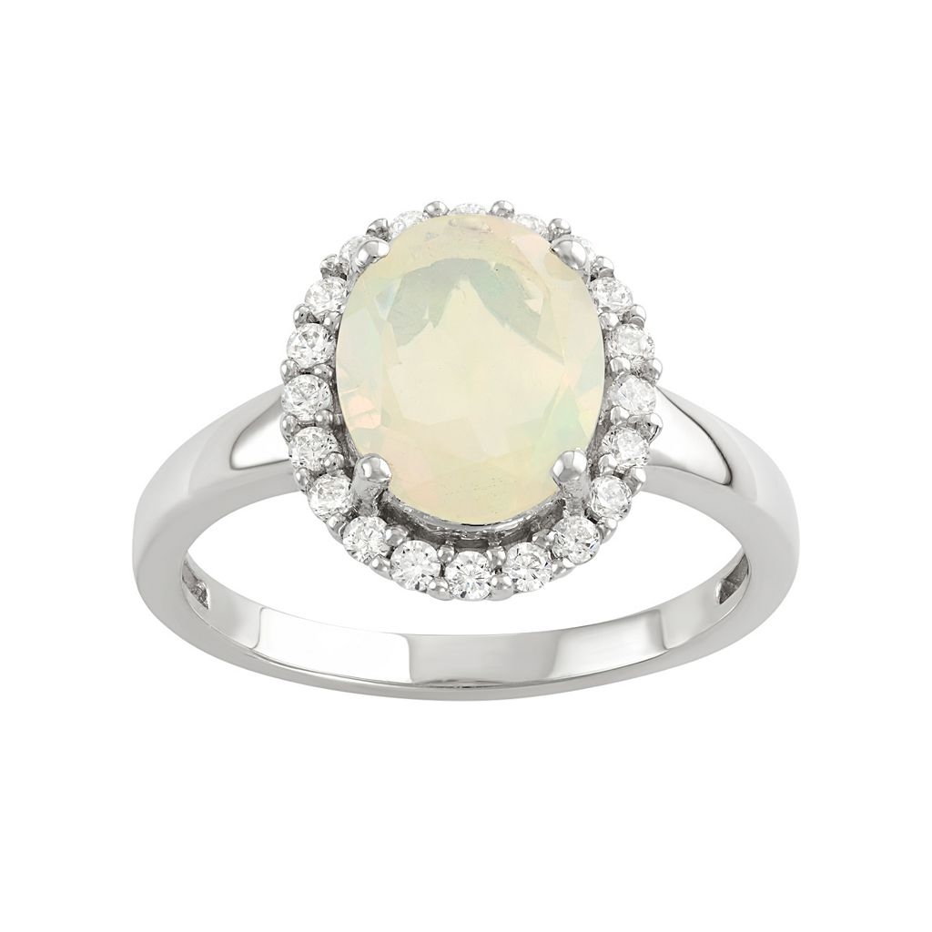 Sterling Silver Ethiopian Opal & Cubic Zirconia Oval Halo Ring