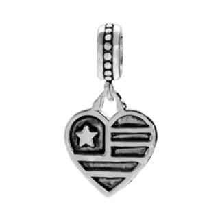 Individuality Beads Sterling Silver American Flag Heart Charm