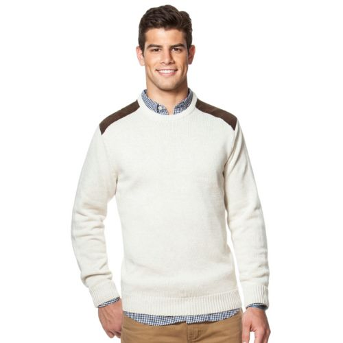 Men's Chaps Classic-Fit Sueded-Patch Crewneck Sweater