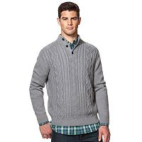 Men's Chaps Classic-Fit Cable-Knit Mockneck Sweater