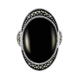 Le Vieux Silver-Plated Onyx & Marcasite Oval Ring