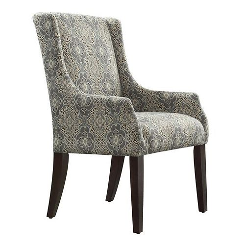 HomeVance Camille Blue Damask Sloped Arm Chair