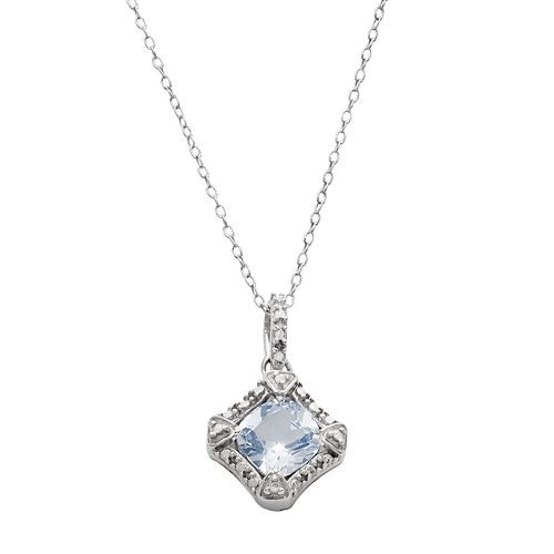 RADIANT GEM Sterling Silver Simulated Aquamarine & Diamond Accent Halo Pendant Necklace