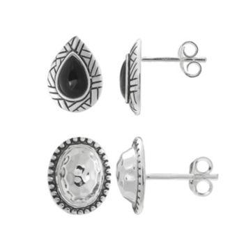 Sterling Silver Lab-Created Onyx Teardrop & Oval Stud Earring Set