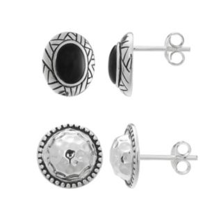 Sterling Silver Lab-Created Onyx Oval & Circle Stud Earring Set
