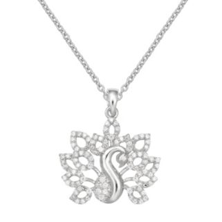 Sterling Silver Cubic Zirconia Peacock Pendant Necklace