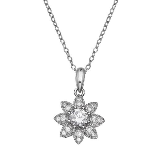 Sterling Silver Cubic Zirconia Flower Pendant Necklace