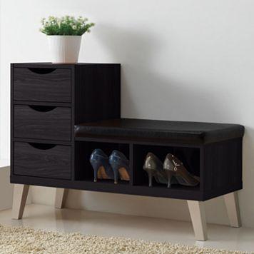 Baxton Studio Arielle Wood Shoe Storage Bench