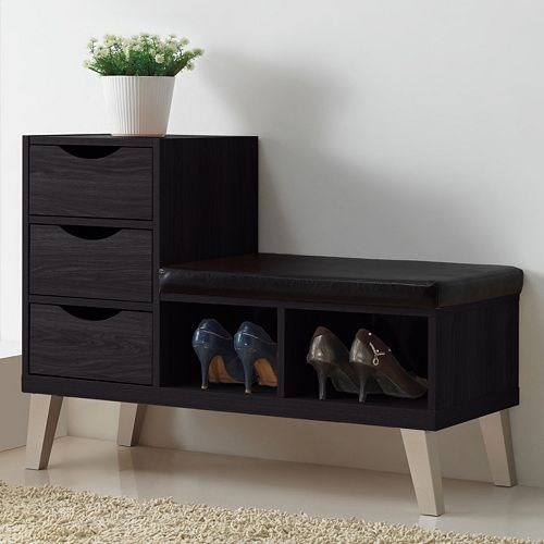 Baxton Studio Arielle Wood Shoe Storage Bench