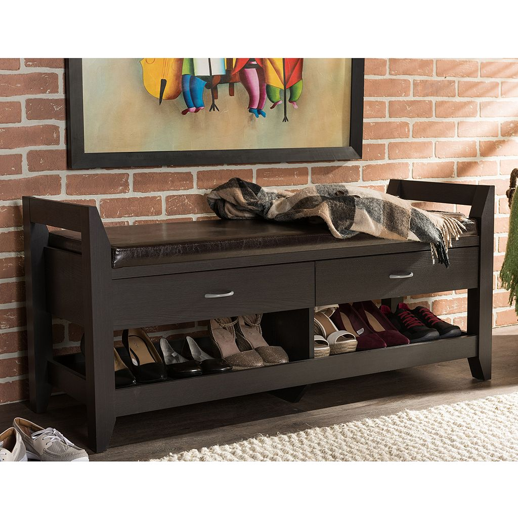 Baxton Studio Maurine Wood Shoe Storage Bench
