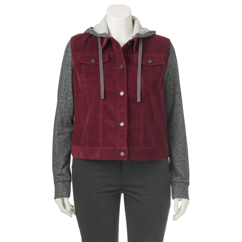 Juniors Plus Size Mudd? Hooded Knit Corduroy Jacket