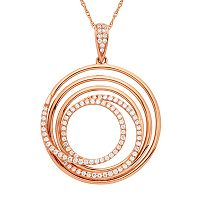 1/4 Carat T.W. IGI Certified Diamond 14k Rose Gold Spiral Pendant Necklace