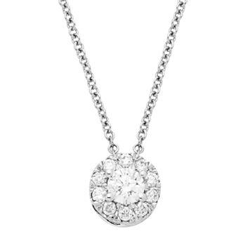 1/4 Carat T.W. IGI Certified Diamond 14k White Gold Halo Pendant Necklace