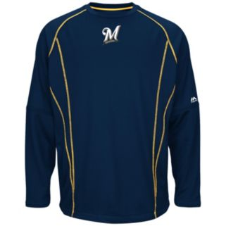 Big & Tall Majestic Milwaukee Brewers Texture Fleece Pullover