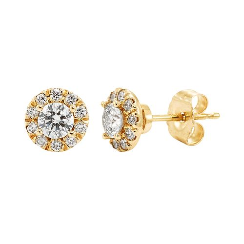 1/2 Carat T.W. IGI Certified Diamond 14k Gold Halo Stud Earrings