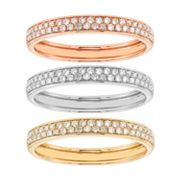1/2 Carat T.W. IGI Certified Diamond Tri Tone 14k Gold Stack Ring Set