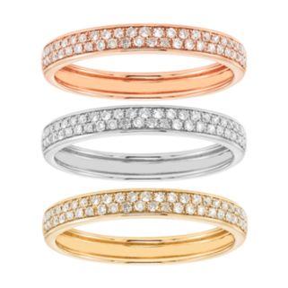 1/2 Carat T.W. IGI Certified Diamond Tri Tone 14k Gold Stack Ring Set