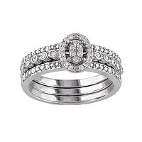 Sterling Silver 1/3 Carat T.W. Diamond Halo Engagement Ring Set