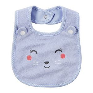Baby Girl Carter's Embroidered Friendly Animal Face Bib