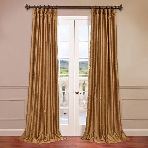 EFF 1-Panel Solid Yarn-Dyed Faux-Dupioni Silk Window Curtain
