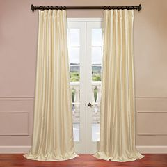 EFF 1-Panel Solid Yarn-Dyed Faux-Dupioni Silk Window Curtain