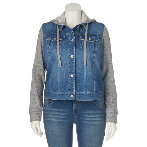 fd4d4ece2c974 Juniors  Plus Size Mudd® Hooded Knit   Denim Jacket
