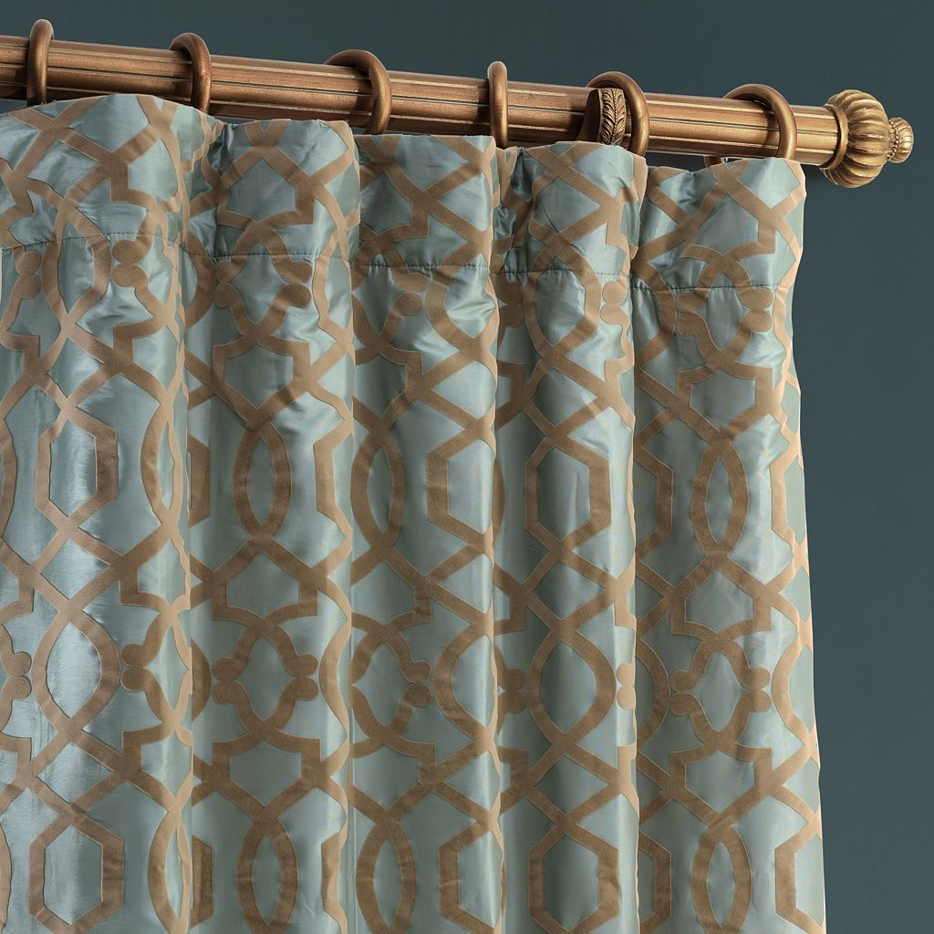 EFF Filigree Flocked Faux-Silk Window Curtain