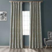 EFF 1-Panel Filigree Flocked Faux-Silk Window Curtain