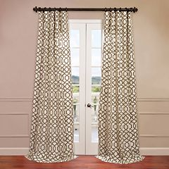 EFF 1-Panel Filigree Flocked Faux-Silk Window Curtain