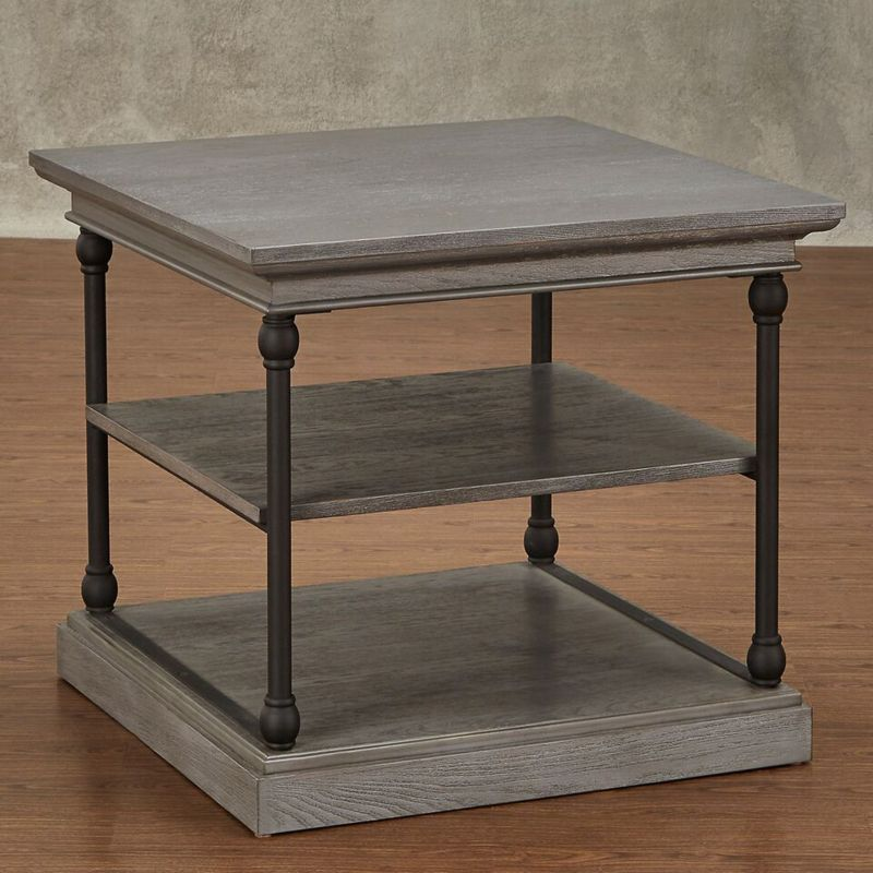 HomeVance Cresthill Metal Frame End Table, Grey
