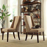 HomeVance Penelope Wingback Hostess Arm Chair 2-piece Set