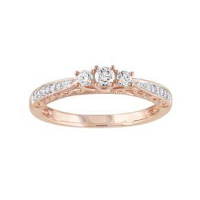Stella Grace 10k Rose Gold 1/4 Carat T.W. Diamond 3-Stone Engagement Ring