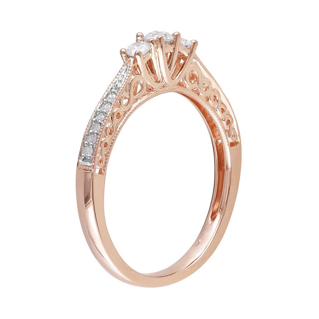 10k Rose Gold 1/4 Carat T.W. Diamond 3-Stone Engagement Ring