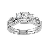 10k White Gold 3/4 Carat T.W. Diamond 3-Stone Engagement Ring Set