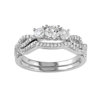 Stella Grace 10k White Gold 3/4 Carat T.W. Diamond 3-Stone Engagement Ring Set