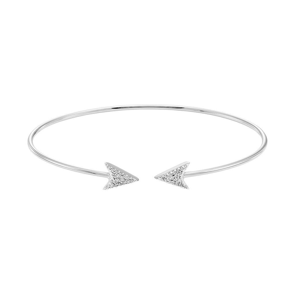 Sterling Silver 1/8 Carat T.W. Diamond Arrow Cuff Bracelet