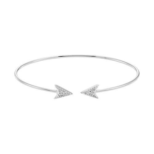 Sterling Silver 1/8 Carat T.W. Diamond Arrow Cuff Bracelet